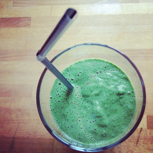 Kale Smoothie. Blend apple, kale, blueberries, yoghurt and cinnamon and anything  else you care to throw in!