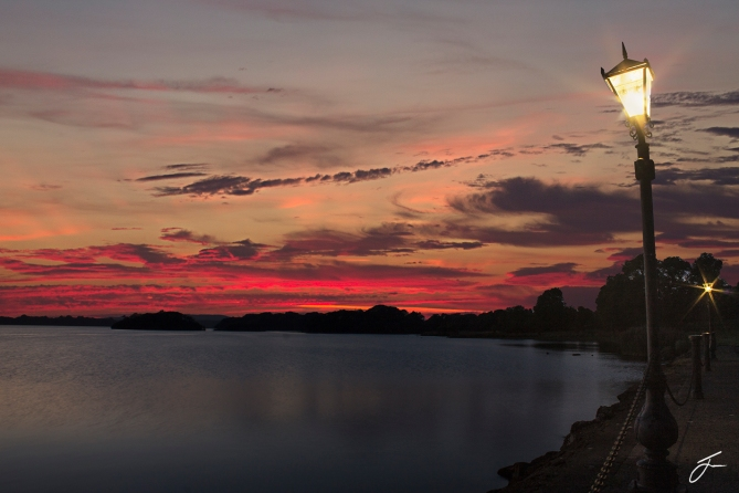 Lake shore sunset with sig